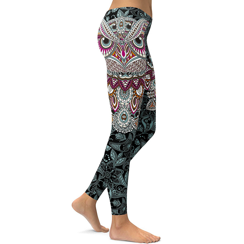 3D printed Owl paisley Mosaic women's yoga pants Running leggings Gym outfits jeggings (2)