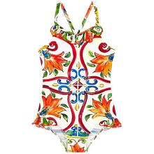 Купальный костюм для малышей, одежда для девочек детский купальник с цветочным рисунком, детский слитный купальник, коллекция года, брендовая летняя одежда для купания для малышей, одежда для детей ростом от 80 до 140 см