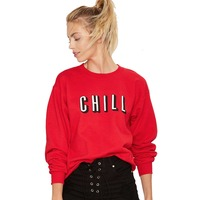 8e4650d01 Autumn Hoodies Women Fashion Crew Neck Sweatshirt Solid Red Brief Letters  Print Loose Long Sleeve Pullover