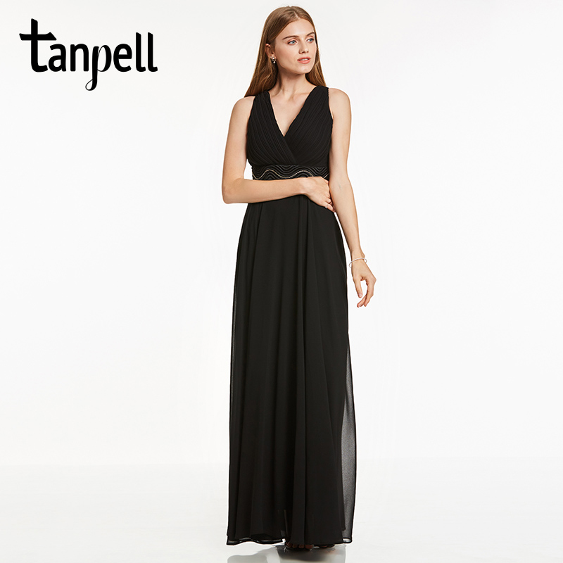 Tanpell empire waist evening dress cheap black sleeveless a line floor length dresses v neck beaded