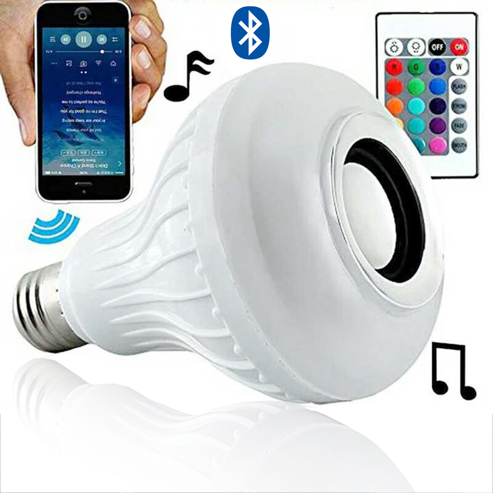 BSOD Wireless Bluetooth 6W LED  Bulb with Audio Speaker E27 RGBW Music Playing and Lighting with 24 Keys IR Remote Controller szyoumy e27 rgbw led light bulb bluetooth speaker 4 0 smart lighting lamp for home decoration lampada led music playing