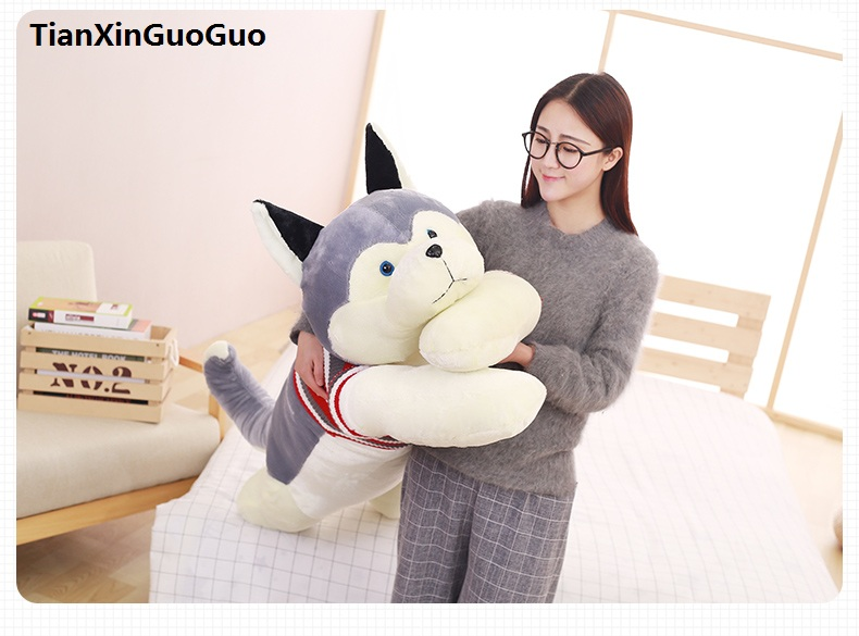 stuffed fillings toy large 120cm gray cartoon husky plush toy soft doll sleeping pillow birthday gift s0628 stripes sweater design prone husky largest 165cm gray husky dog plush toy sleeping pillow surprised christmas gift h907