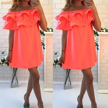 Women dress fashion sexy slash neck women dress Flounced style Women's Clothing