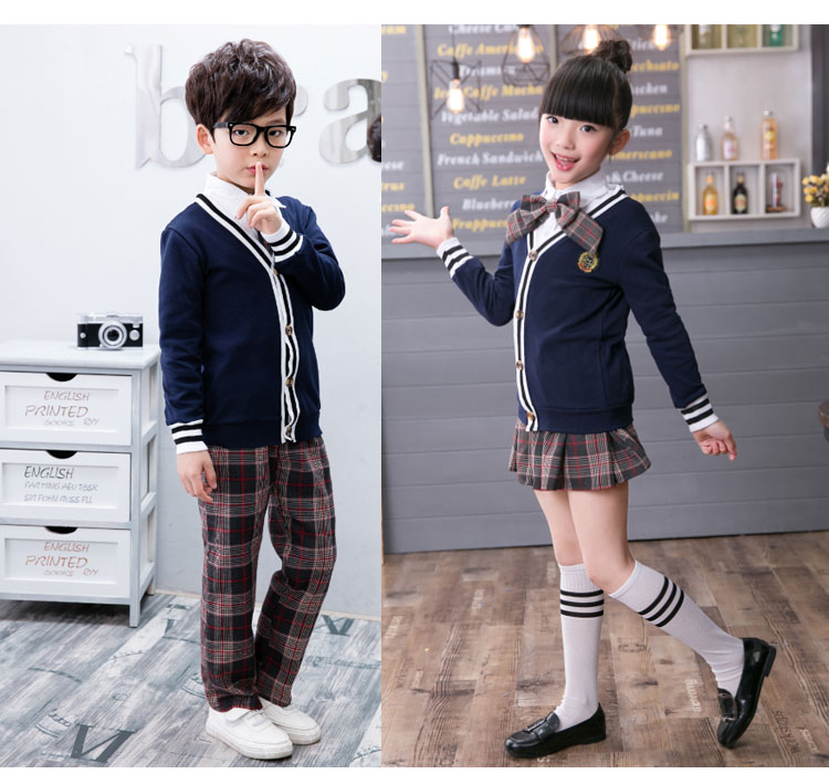 School Uniform Boys And Girls Long Sleeves Autumn Opening Ceremony Cheerleader Costumes