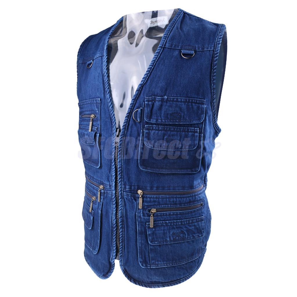 Men's Multi Pockets Denim Vest Waistcoat Hunting Fishing Photographer Journalist Vest Leisure V-neck Jackets floral slash neck vest