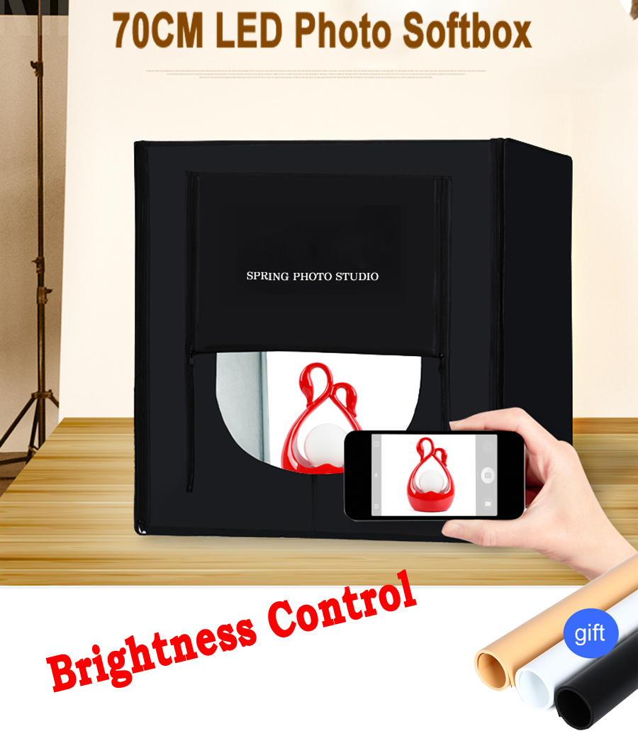 70*70CM Portable LED Photo Studio Softbox Light Tent +Background +AC Adapter for Phone Camera DSLR Jewelry Toys Necklace Shoes cy 60 60 60cm 24 led photo studio softbox light tent soft box ac adapter backgrounds for phone camera dslr jewelry toys shoes