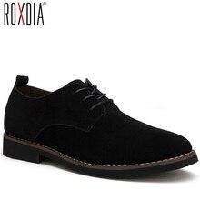 ROXDIA plus size 39-48 genuine leather men casual flats waterproof dress oxford
