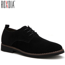 ROXDIA plus size 39-48 genuine leather men casual flats waterproof dress oxford
