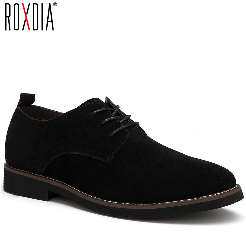 ROXDIA Plus Size 39-48 Genuine Leather Men Casual Flats Waterproof Dress Oxford Man Shoes Lace Up For Work Male Loafers RXM098
