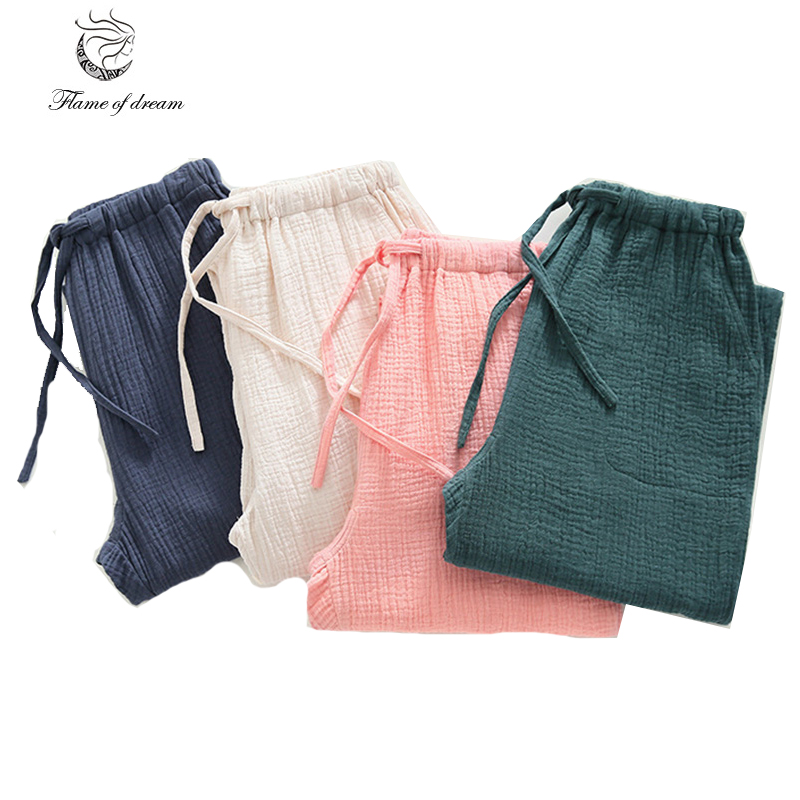 For hip 99-114cm can wear 100% cotton Sleep pants Spring Pajamas Pants Women Cotton sleepwear botton 524 ...