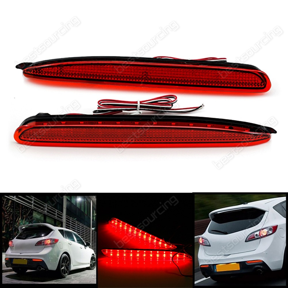 2x Red Rear Bumper Reflector LED Brake Stop Light GG 03-08 Mazda 6 Atenza Mazda6(CA170)