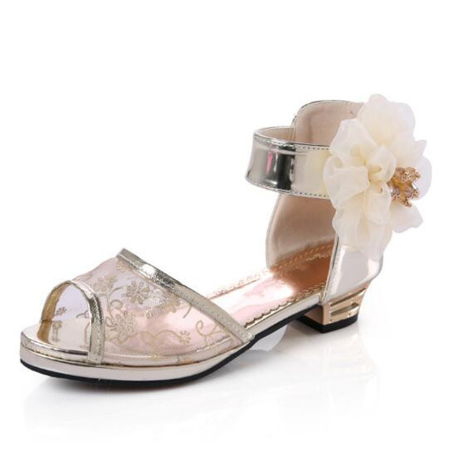 c5cc8587b163 Children Summer High Heel Dance Shoes Fish Mouth Flower Pretty Wedding  Sandals For Girls Femail Party Glitter Shoes