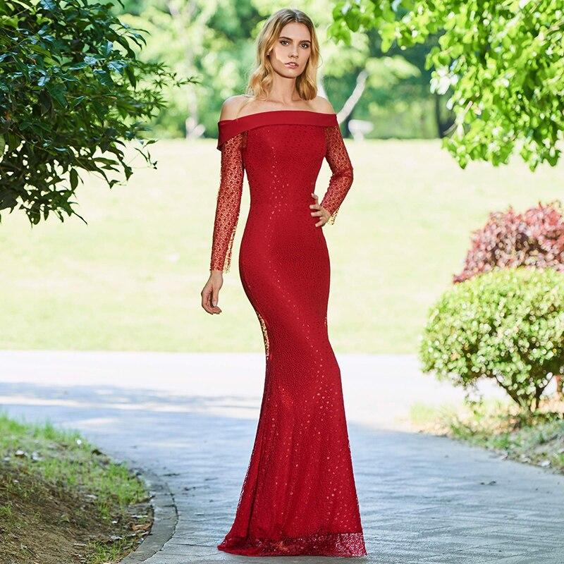 3aaf9b657e6974f Tanpell с открытыми плечами вечернее платье с красным кружевом с длинными  рукавами Длина до пола платье Женщины Формальное Русалка Плюс пользо.