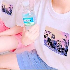 Белая футболка в стиле Харадзюку, каваи, японский аниме, 8 бит, Pixel Vaporwave City Эстетическая футболка, каваи, японский аниме