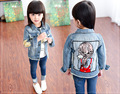 New fashion Kids baby jeans jackets of girls patchwork korean style coat pockets and embroidery windbreaker children outfits top