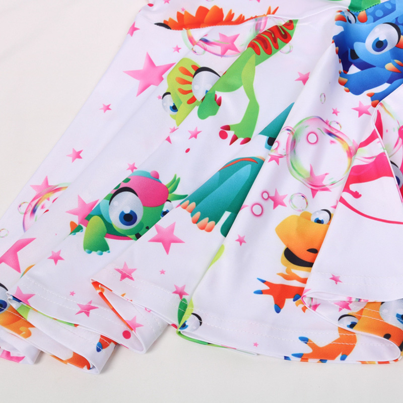 2019 New Girls Dress Sleeveless Round Neck Kids Clothing Color Dinosaur Print Princess Dress in Dresses from Mother Kids
