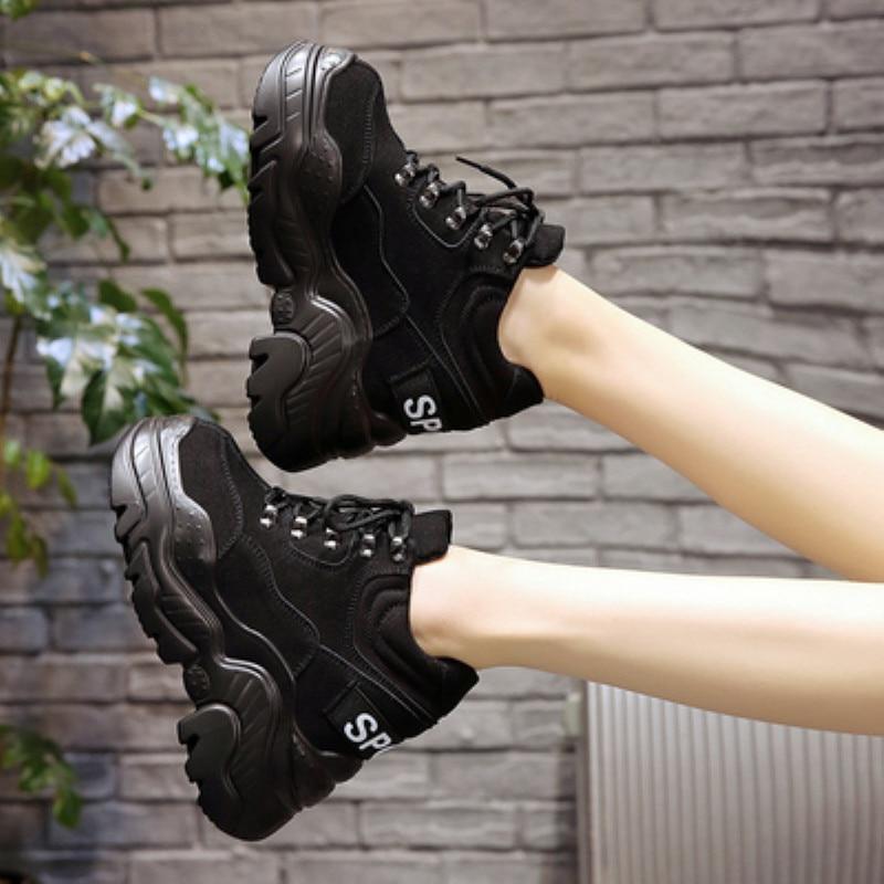 Hohe Ferse Frühjahr Dicke Cm Frauen Sohle Schuhe Atmungsaktiv Plattform Keil Turnschuhe Stiefel 12 Wasserdicht Leder 2019 CasualSpargut xoBCde
