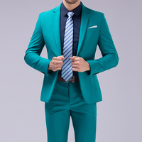 Dressing a button suit suit wedding suit boyfriend fashion slim men's suit purple men's tuxedo jacket men (coat + pants + vest)