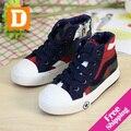 Nuevo 2015 Niños Del Otoño Zapatos Navy Camuflaje de Lona Atan Para Arriba y Zip de Alta Los Niños Zapatos Para Niñas Niños Sneakers Niños Zapatos De Goma