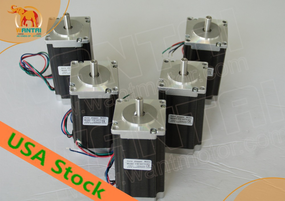 [USA FREE] CNC Wantai 5PCS 4-lead Nema23 Stepper Motor 57BYGH115-003 425oz-in 115mm 3A CE ROHS ISO Engraver Foam Plastic usa free ship 3pcs nema23 wantai stepper motor 428oz in 57bygh115 003b dual shaft 3a