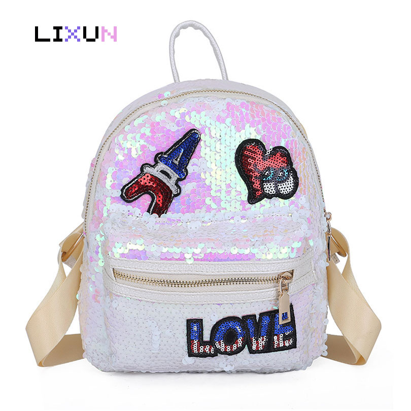 Women Colorful Sequins Panelled Backpacks For Teenager Girl Kids Glitter Student School Book Bags Paillette Bling Love Rucksack