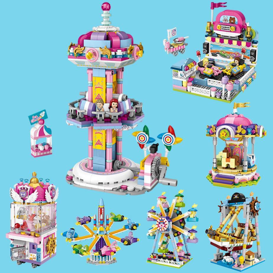 Funland Mini Block Ferris Wheel UFO Catcher Pirate Ship Merry-go-round Rotating Aircraft Bumper Car Turbo Drop Stack Brick Toy