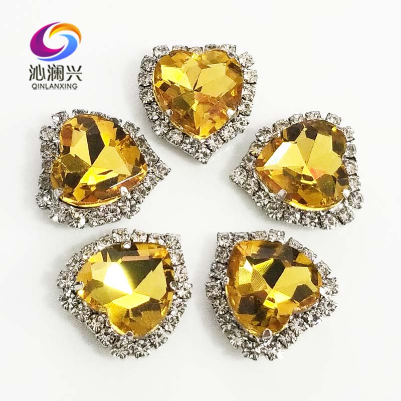 Silver bottom Golden yellow top grade Crystal glass buckle,heart shape sew on rhinestones for Diy/jewelry accessories SWHKY18