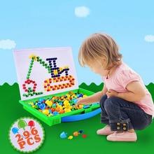 Lantiger 296 stücke Pilz Nagel Intelligente 3D Puzzle Spiele DIY Pilz Nagel Kunststoff Flashboard Kinder Spielzeug Pädagogisches Spielzeug