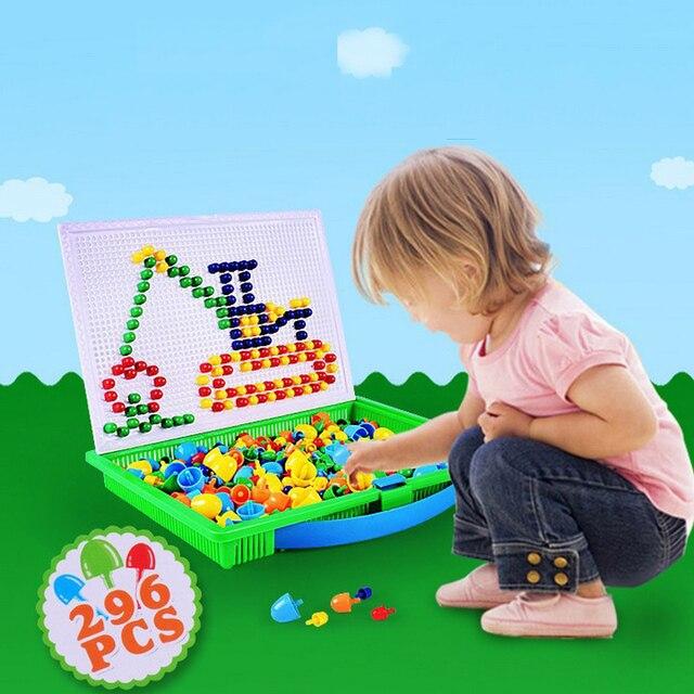 Lantiger 296pcs פטריות ציפורניים אינטליגנטי 3D משחקי פאזל DIY פטריות ציפורניים פלסטיק Flashboard ילדי צעצועים חינוכיים צעצוע