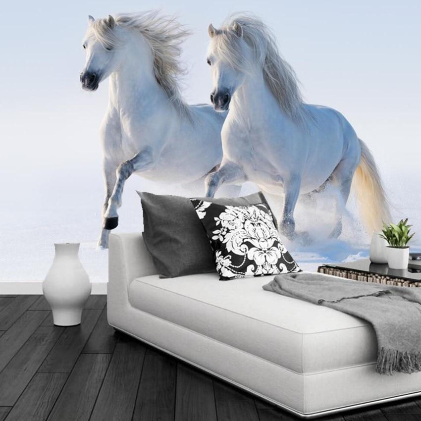 Papier peint 3d personnalisé, deux chevaux blancs courant dans la neige papel de parede, hôtel restaurant salon canapé TV mur chambre papier peint