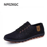 NPEZKGC Spring Summer Canvas Men Shoes Breathable Male Casual Fashion Light Low Lace Up Shoes Flats Plus Size 45,46,47