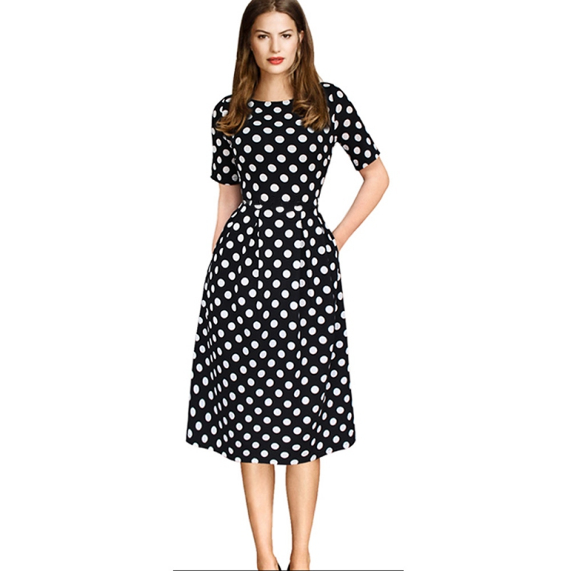 Womens Elegant Vintage Autumn Polka Dot Tunic Pinup Work Office Casual Party Skater Dress Female Vestidos New