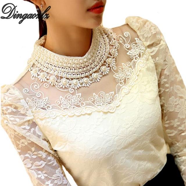 Dingaozlz elegant long sleeve bodysuit beaded Women lace blouse shirts crochet tops blusas Mesh Chiffon blouse female clothing