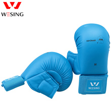 Wesing Men Women Karate Gloves with Thumb Protection WKF Approved Protective Gear Training Mitts Large Size