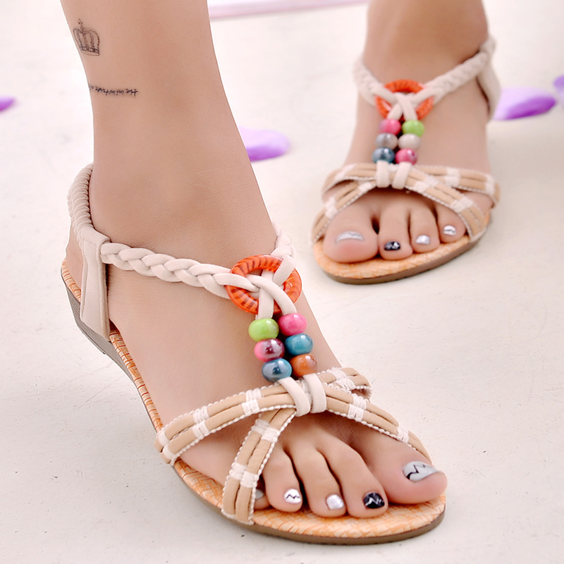 Summer Shoes Woman Fashion Casual Beaded Sandals Flat with Comfortable Luxurious Slippers chaussures femme ete 2017  tenis shoes