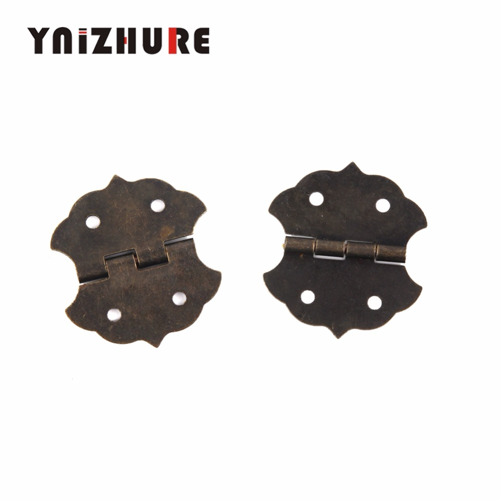 Small Flower Cabinet Door Hinge,Door Butt Hinges For DIY Box,4 Holes Bronze Tone Bag Accessory,29*32mm,With Screws,12Pcs flower decorated bag accessory
