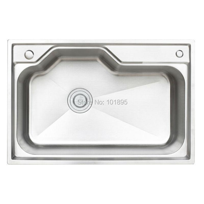 SUS304 Steel Single Bowl 750*500*230MM Kitchen Sink X26110