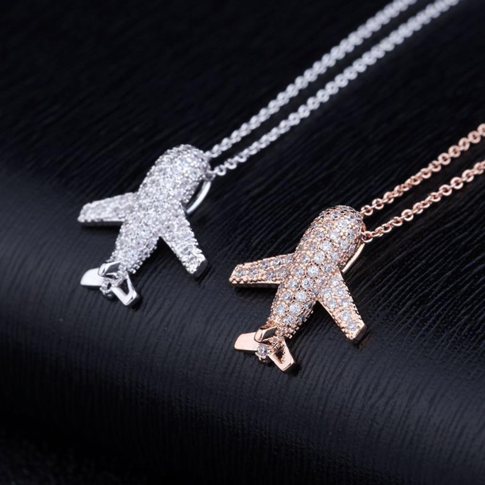 1Pc Handmade Rose Gold Airplane Pendant Necklace for Women Fashion Korean New Creative Zircon Choker Jewelry Gift