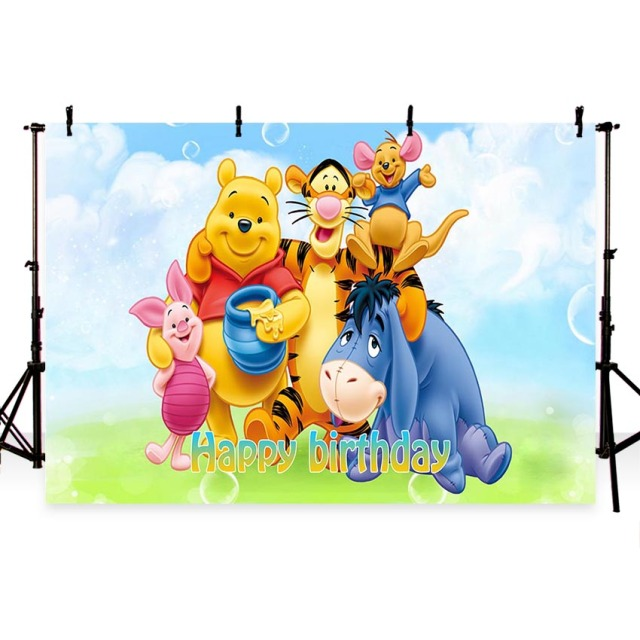 Comophoto Photography backdrops Green Grass Winnie Piglet Eeyore Tiger Flowers Sky birthday party Custom Photo Studio Background