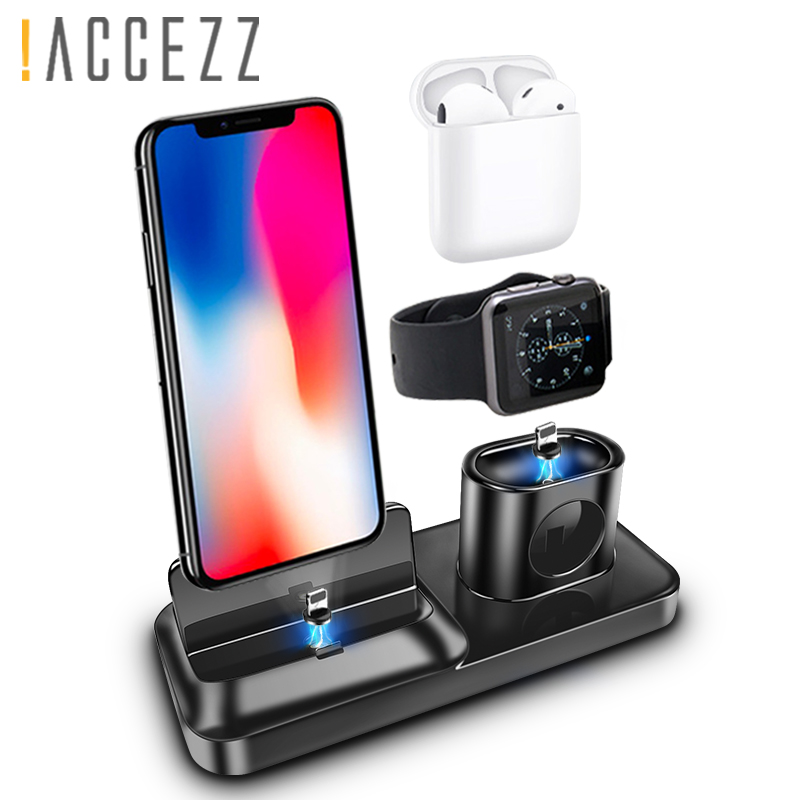 !ACCEZZ 3 in 1 Desk Charger Holder Magnetic Charging For iphone X XS MAX XR AirPods Apple i Watch Samsung Xiaomi