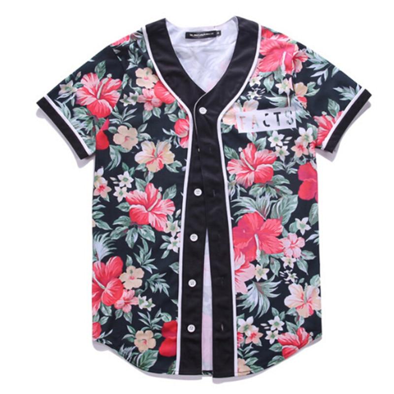 Selling 2017 Harajuku Baseball T Shirt 3D Print Beautiful Flowers Graphic Jersey Tops Hip Hop Short Sleeve Cardigan