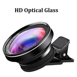 Phone Lens Kit HD Optical Glass 0.6X Super Wide Angle 15X Macro Lens Camera Lentes for iPhone 7 8 Plus Samsung S9 Smartphones