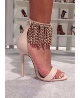 Summer hot selling open toe high heel sandals gold chains ankle strap gladiator sandals 2015 high heel sandal