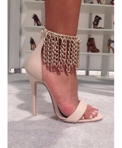 Summer hot selling open toe high heel sandals gold chains ankle strap gladiator sandals 2015 high heel sandal цена