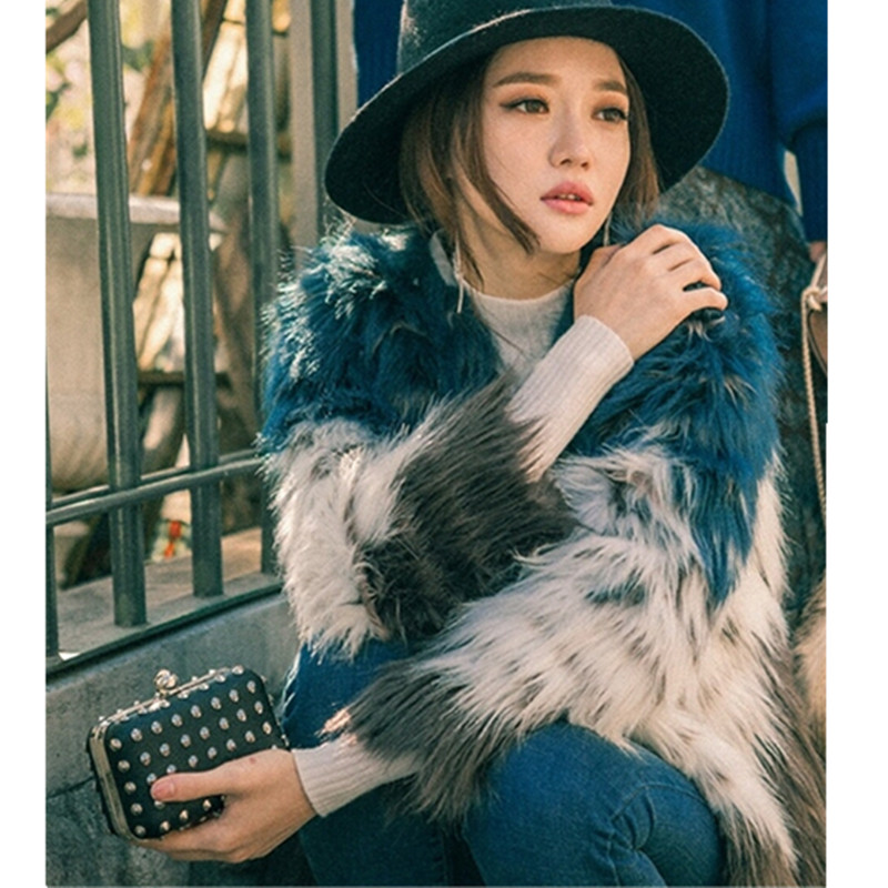 Stylish Contrast Color Long Hairy Shaggy Faux Fur Coat 2017 Autumn Winter Women O Neck Faux Fur Jackets Mid Long Outerwear