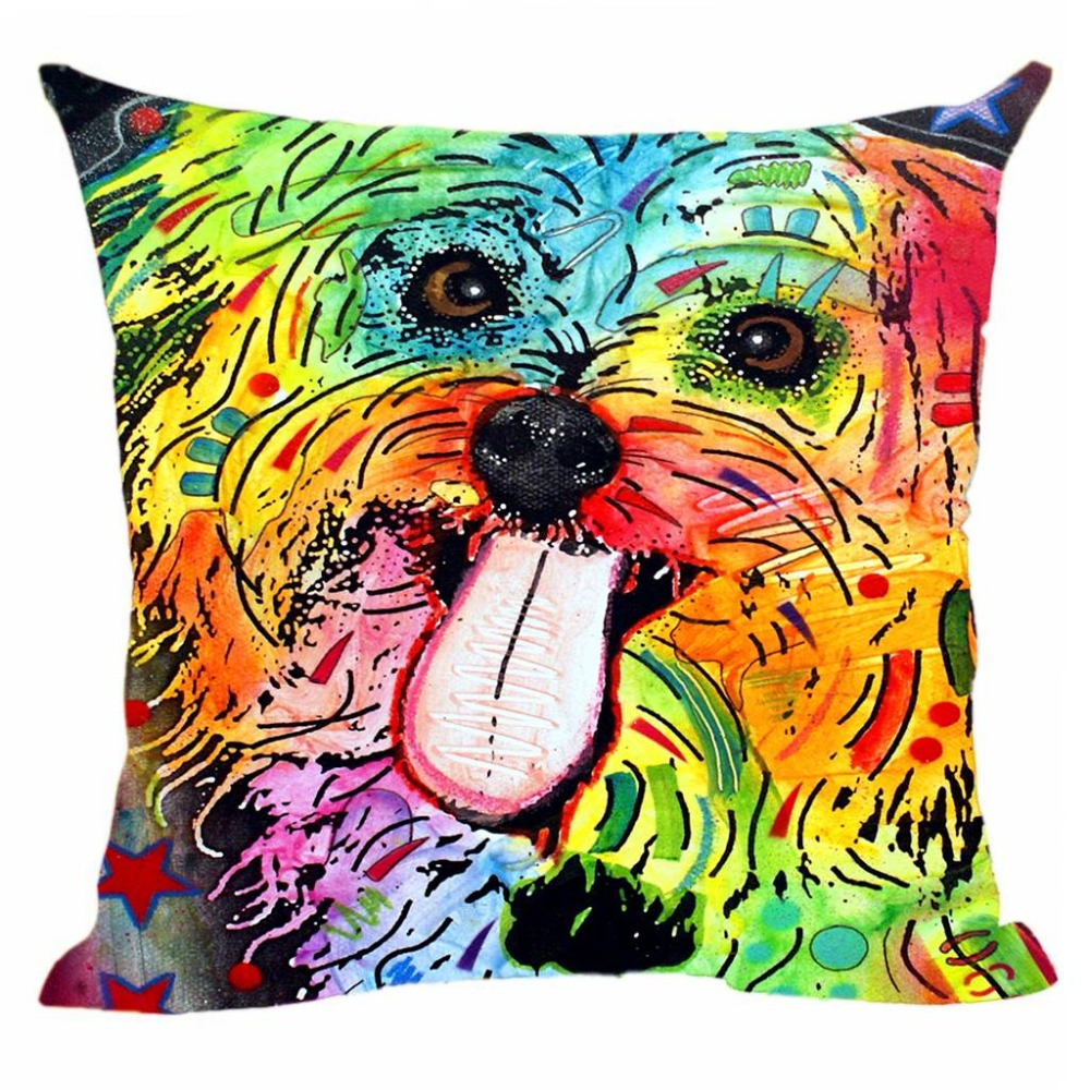 Katoen linnen Pitbull Shih Tzu kussenhoes hond decoratieve kussen - Thuis textiel