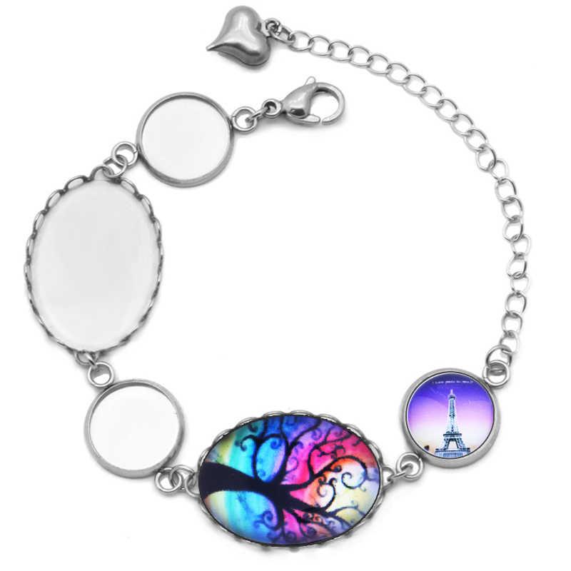 Résultats de Bracelet de chaîne de lien d'acier inoxydable pierre de verre Cabochons de Base de camée paramètres de Bracelet fabrication de bijoux à bricoler soi-même
