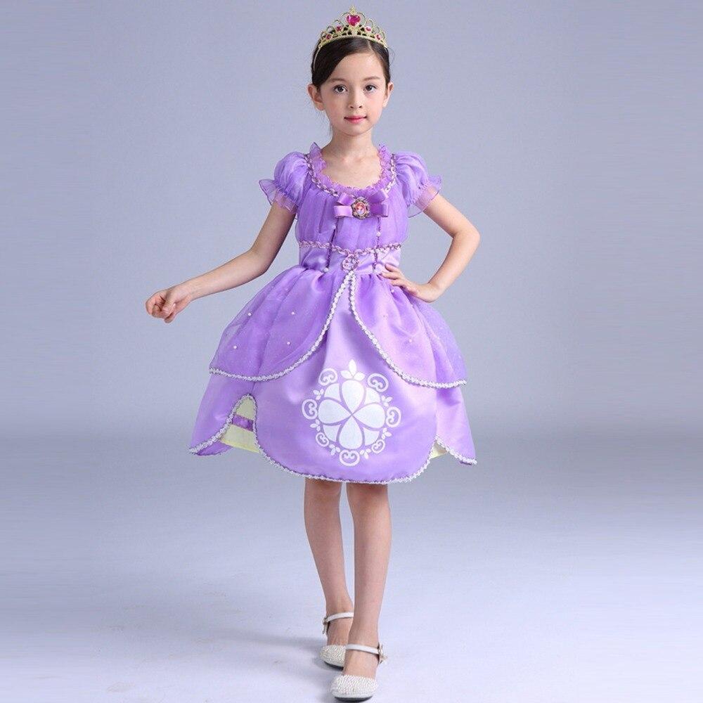 Nova qualidade Top vestido da menina do algodão princesa sofia roxo vestido  Fofo grandes pétalas princesa Sophia criança Ocasional dos desenhos  animados ... 01fd99d825