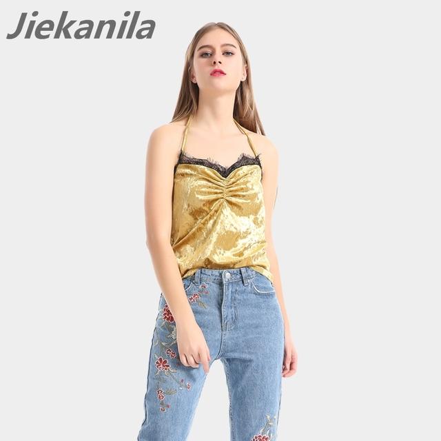 Jiekanila Ouro Velvet lace regatas camisole camis 2017 das mulheres encabeça Verão Sexy Com Decote Em V partido Dobra casa/street wear cinta cami