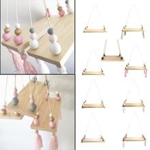 Настенные украшения для спальни с кисточками и бусинами, деревянная доска, полка для хранения, реквизит для фотосессии, украшение для детской комнаты, украшение для дома